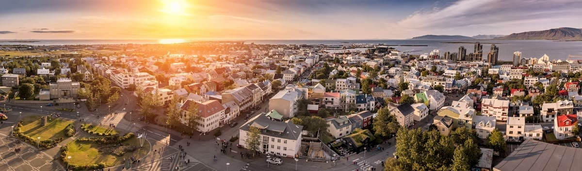 Aerial view of Reykjavik with sunset