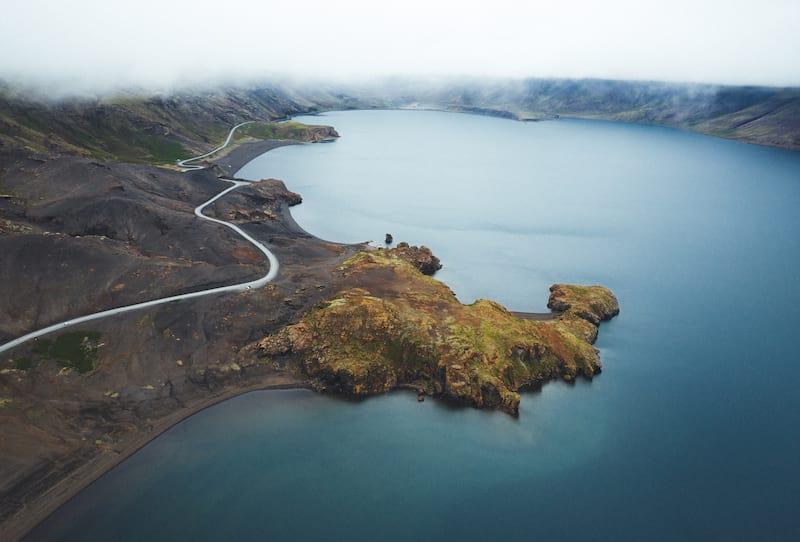 Aerial shot of Lake Kleifarvatn Reykjanes Peninsula Iceland