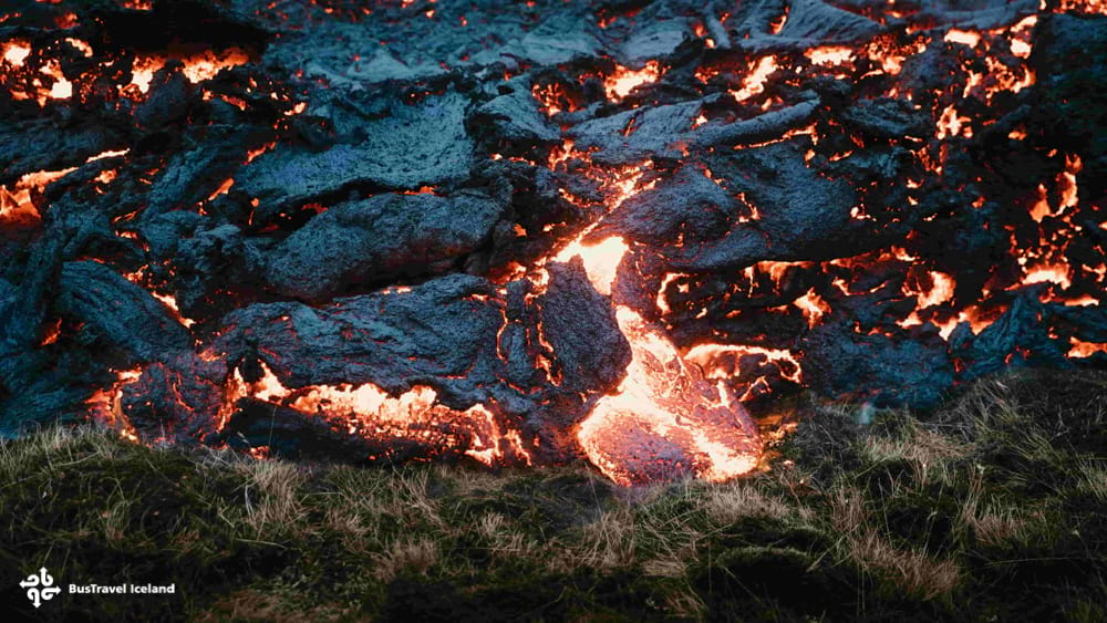 Close up shot of molten magma at Fagradalsfjall volcano eruption Iceland