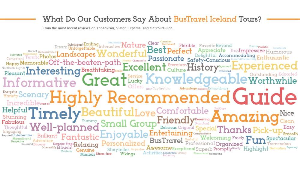 BusTravel Iceland Customer Reviews WordCloud