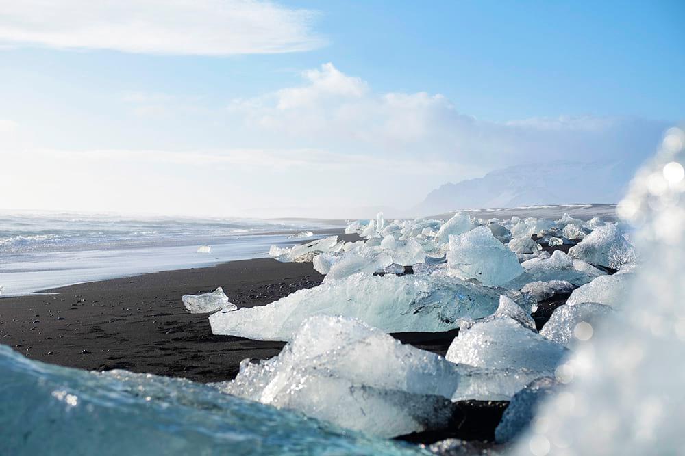 Diamond Beach filled with ice at Jokulsarlon south Iceland