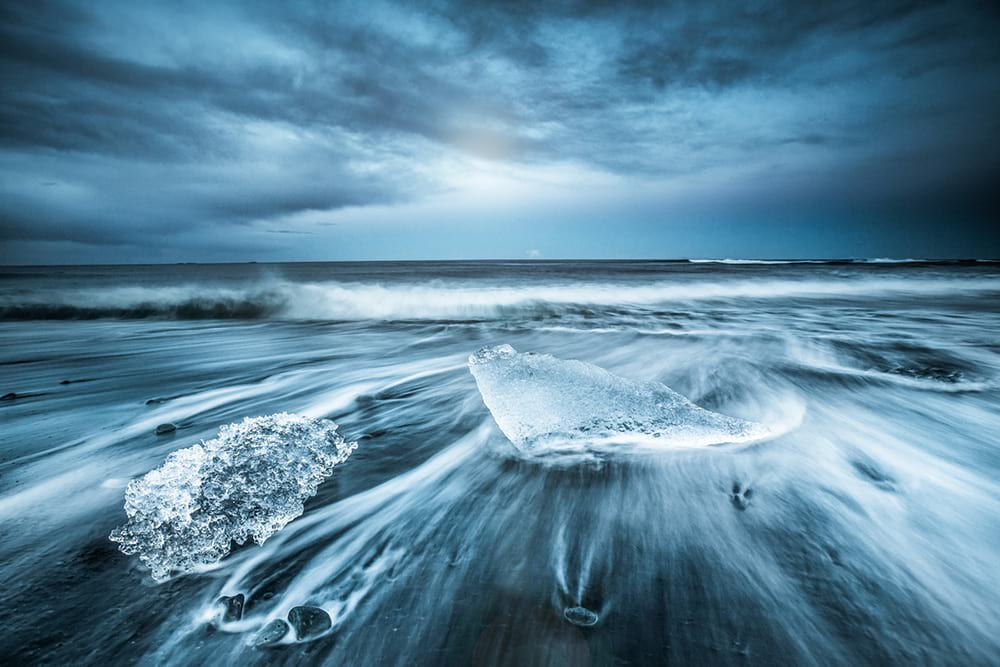 Diamond Beach near Jokulsarlon Glacier Lagoon on South Coast of Iceland
