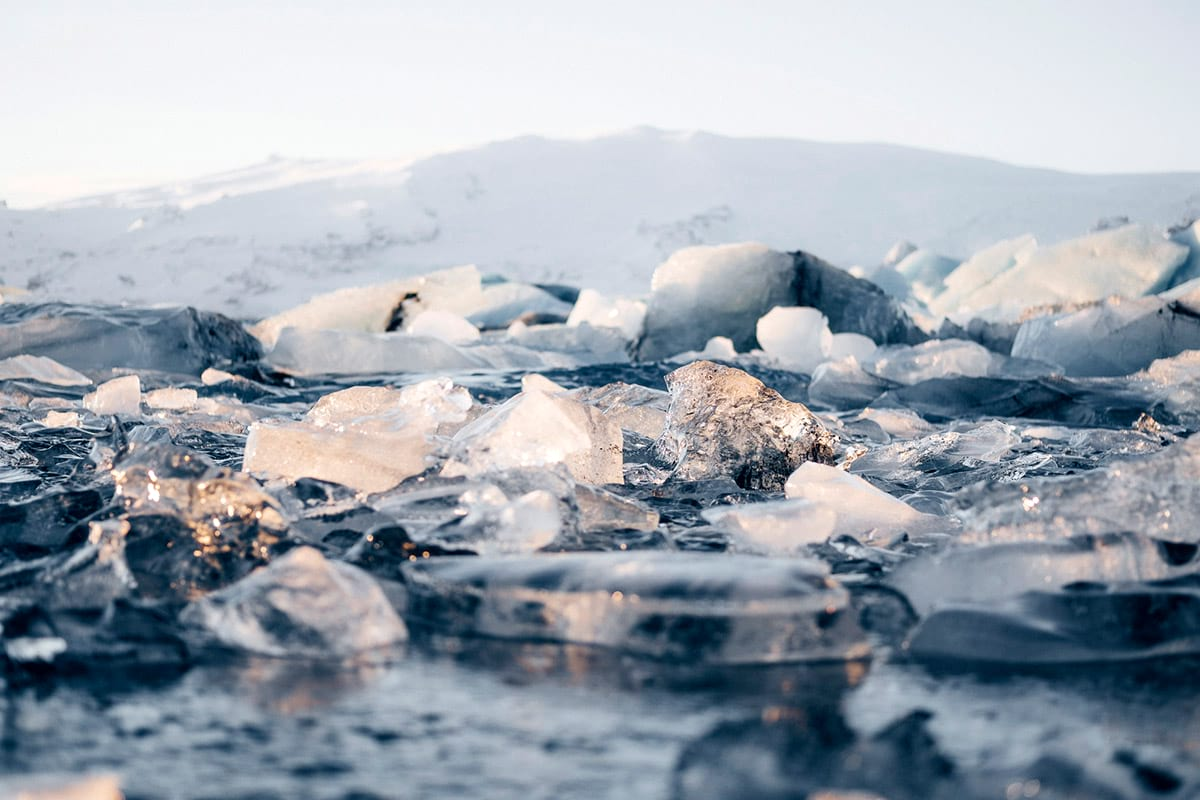 Countless pieces of ice chunks scattered on the Diamond Beach