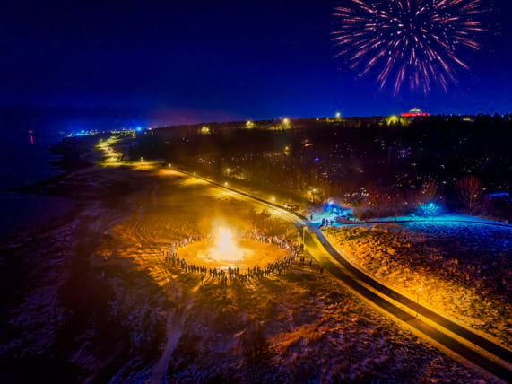 Huge bonfire is a tradition in Iceland on the New Year's Eve