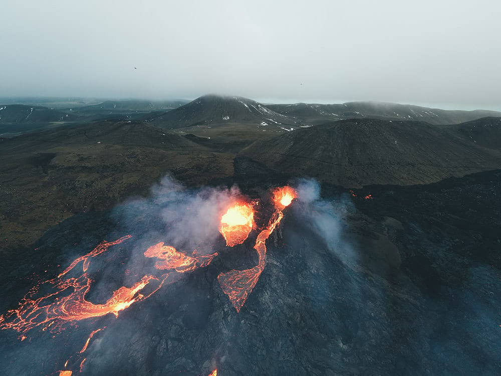 Fagradalsfjall volcano eruption and its surroundings