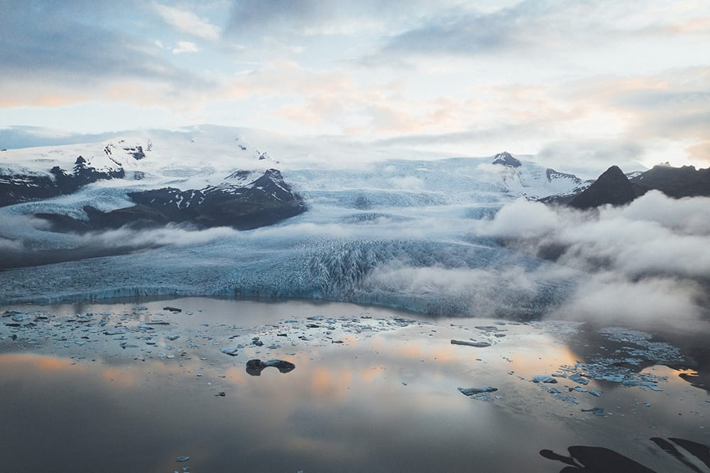 Aerial view of Fjallsarlon Glacier Lagoon South Iceland
