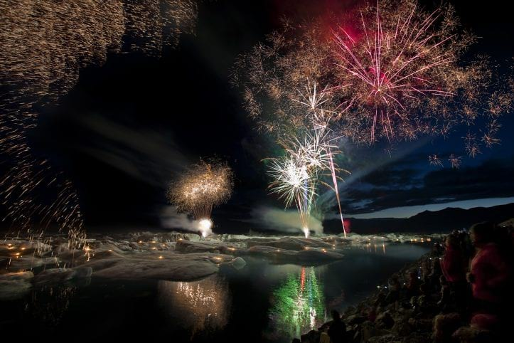 Annual fireworks at Jokulsarlon Glacier Lagoon