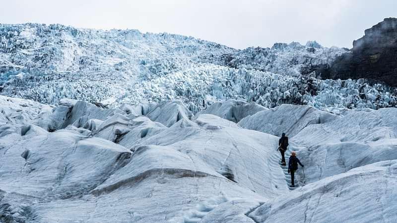 Glacier hiking on massive outlet glacier south iceland
