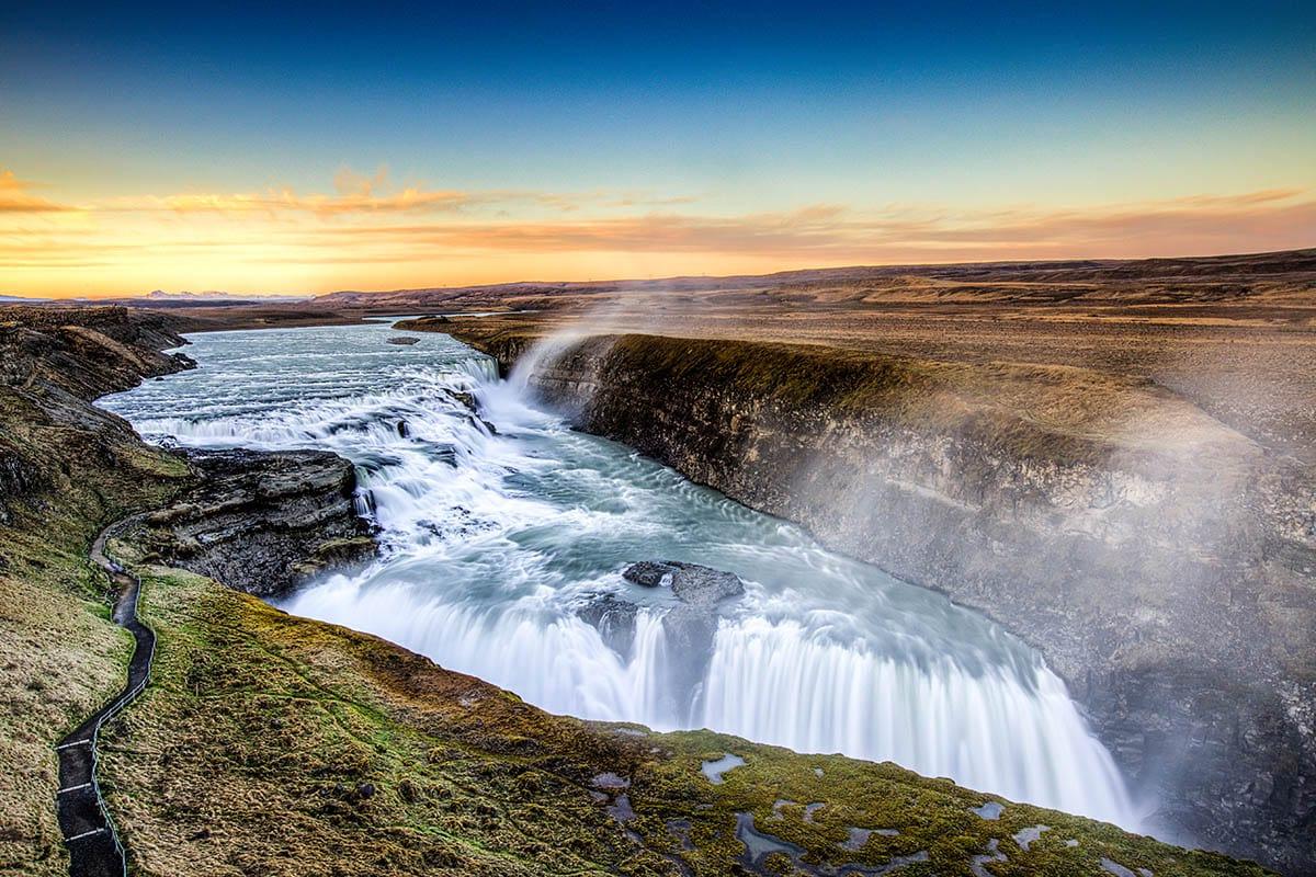 Gullfoss waterfall close to Reykjavik via the Golden Circle Route