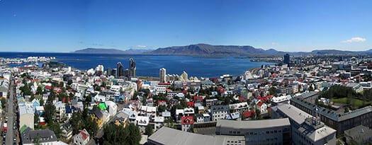 Aerial view of buildings in the city of Reykjavik