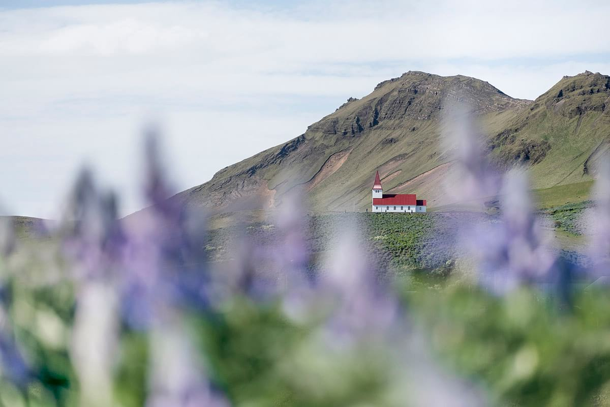 Iconic church in Vik town south Iceland