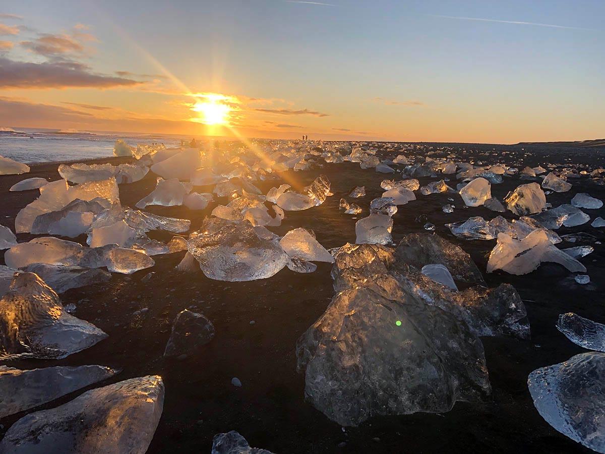 Jokulsarlon Diamond Beach under sunset