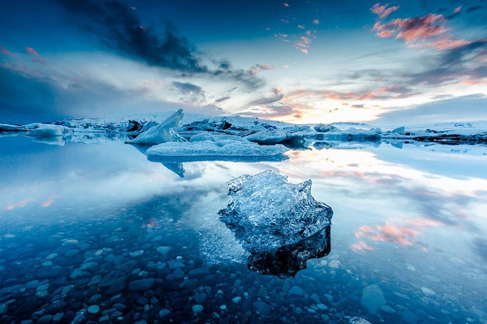 Jokulsarlon Glacier Lagoon in beautiful sunset south iceland