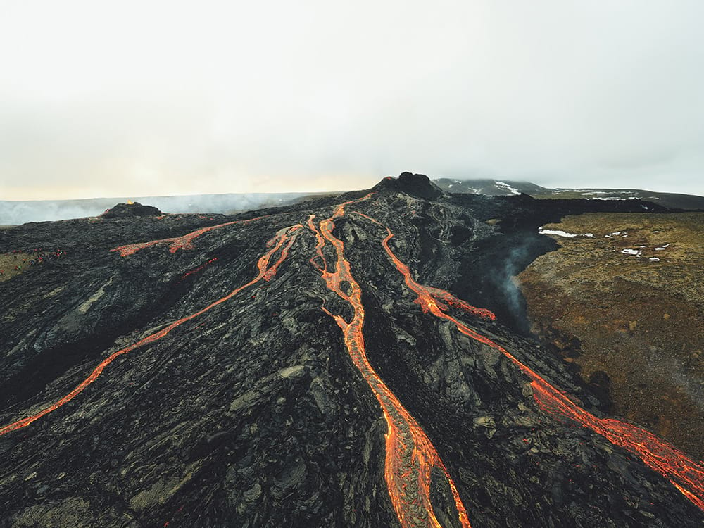 Lava flow from Fagradalsfjall volcano Iceland