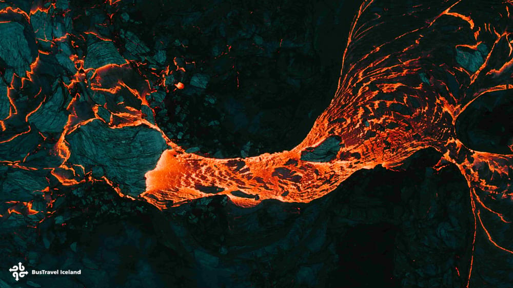 Lava flow texture from above at Fagradalsfjall volcano eruption Iceland 2021
