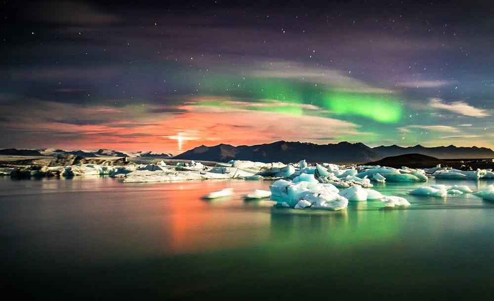 The Northern Lights dancing over Jokulsarlon Glacier Lagoon Iceland