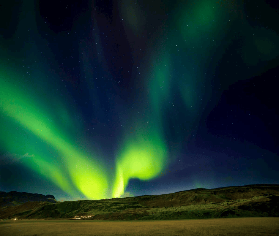 Northern Lights spotted in the Icelandic countryside on a Gray Line Northern Lights tour