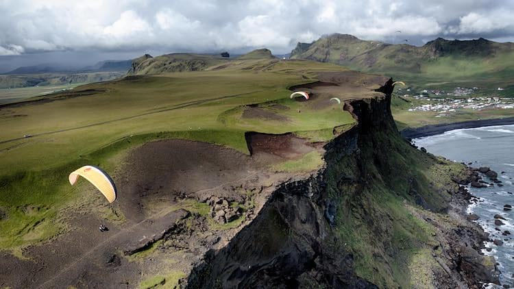 Paragliding over Icelandic clifs
