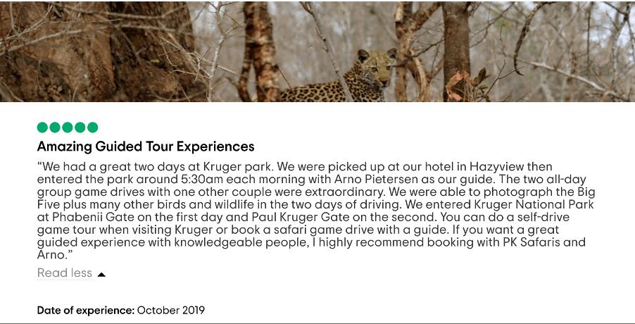 Private Kruger Safaris TripAdvisor review
