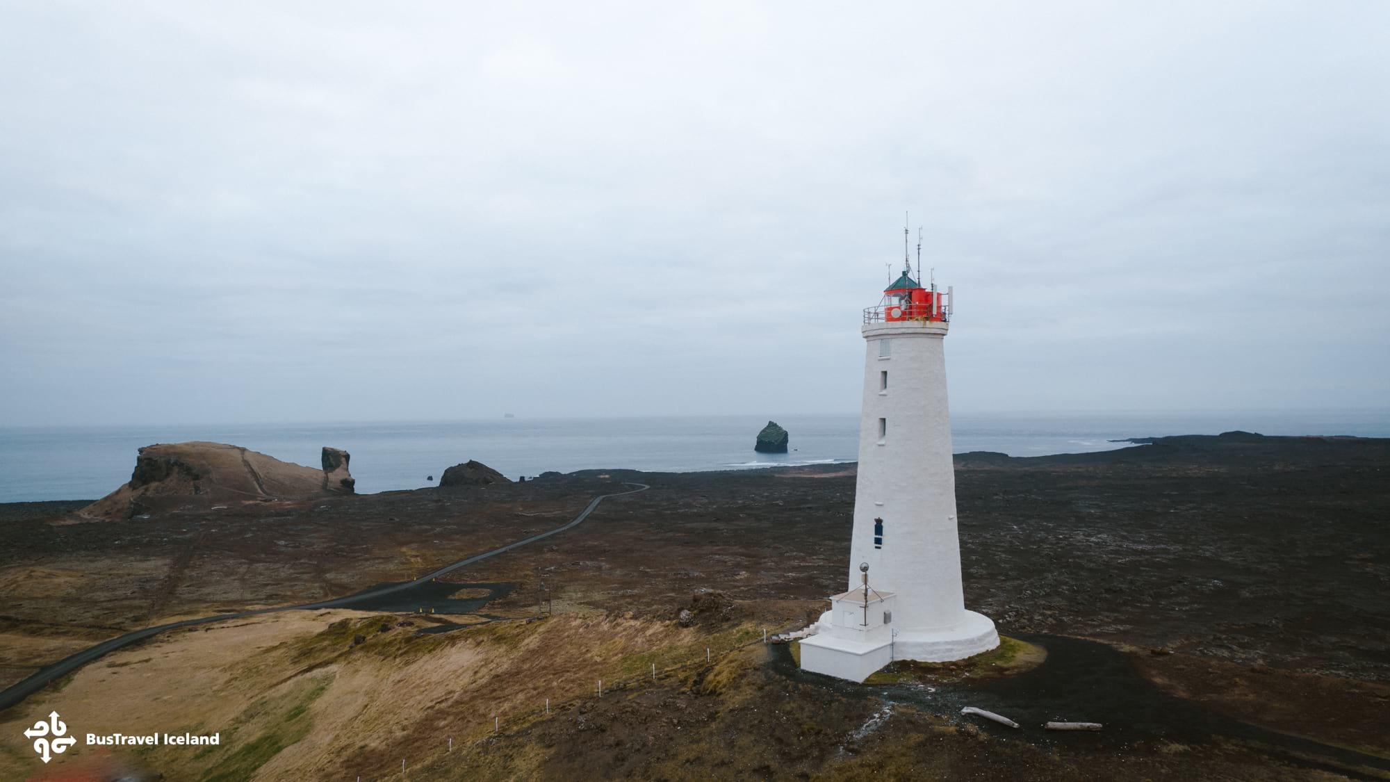 Reykjanesviti iconic white lighthouse in Reykjanes Peninsula Iceland