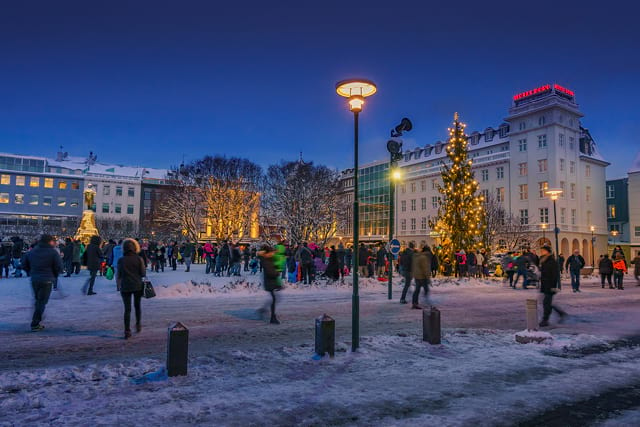 Oslo Christmas Tree lights every year in the center of Reykjavík