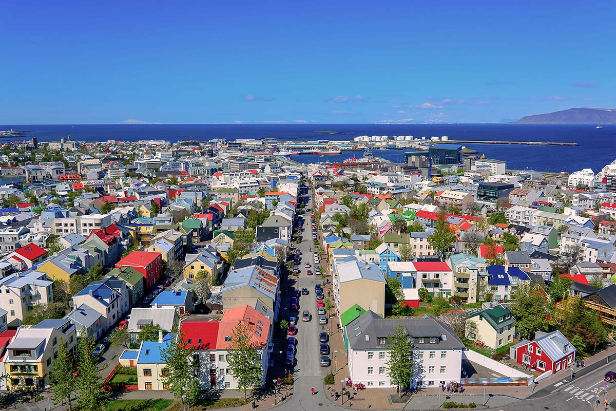 Reykjavik main street view from above the church towner