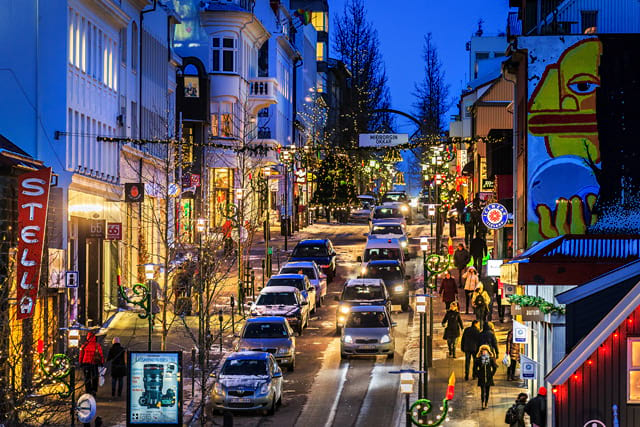 The main street in Reykjavik Laugavegur during the Christmas time