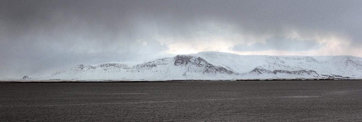 Reykjavik facing Faxaflói bay Winter Iceland