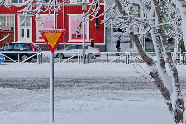 Snowy street in Reykjavik