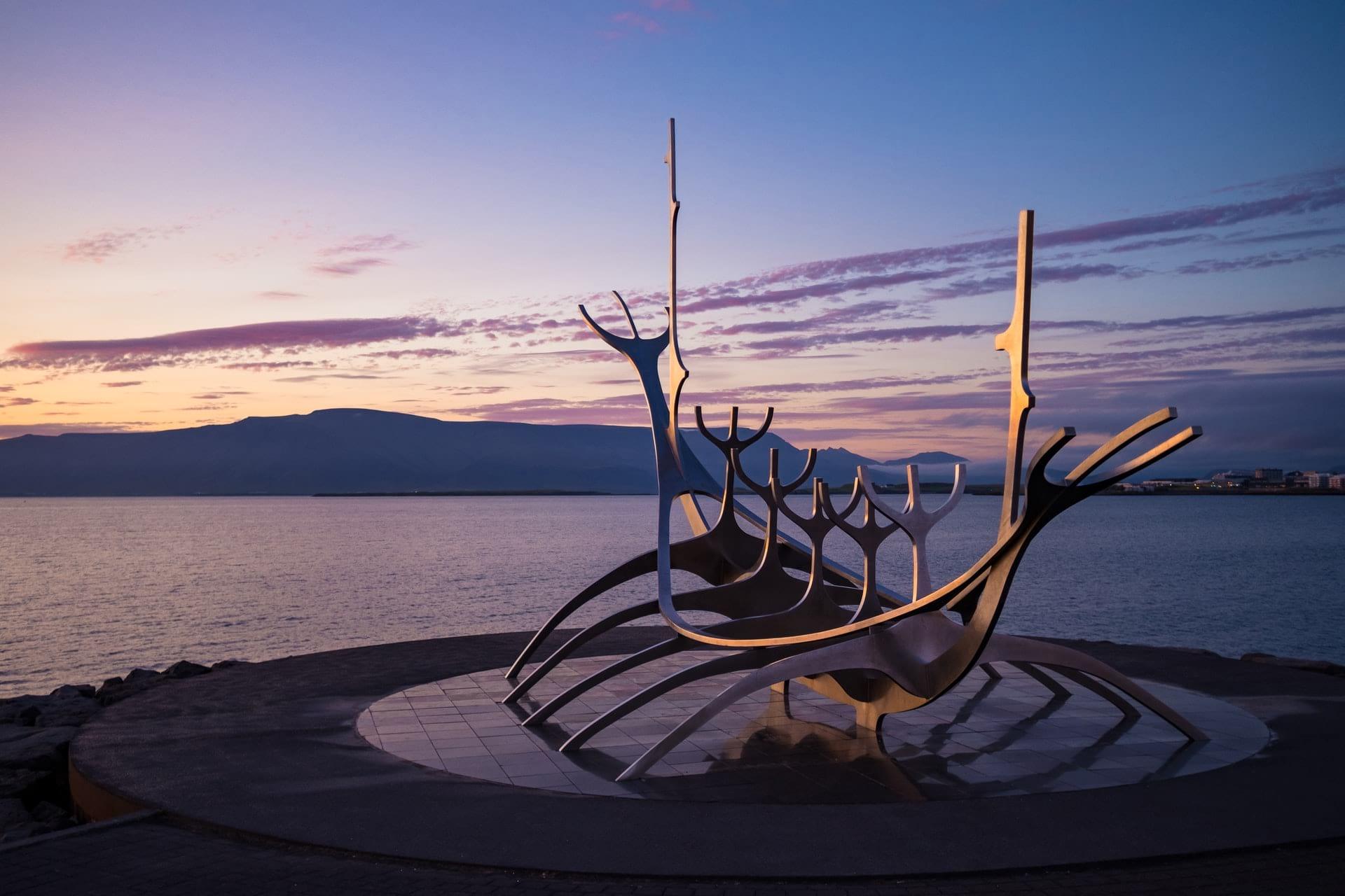 Reykjavik midnight-sun over Sun Voyager Sculpture