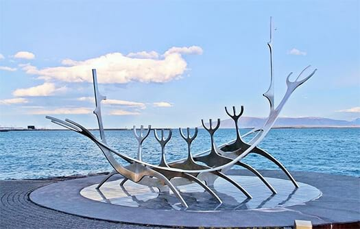 Sun Voyager, a metal sculpture in the shape of a viking ship