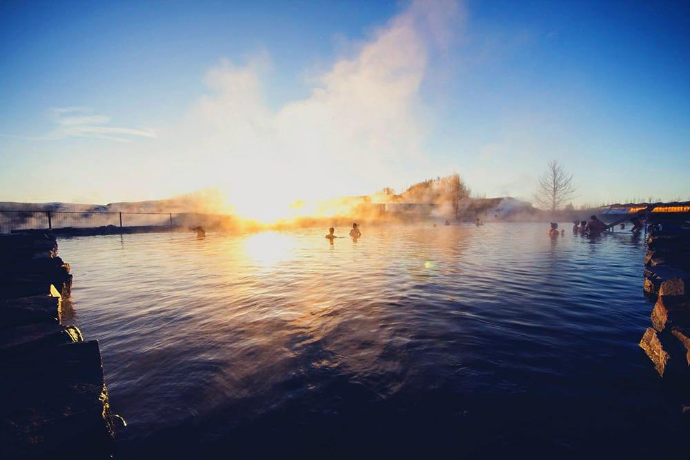 Secret Lagoon in Golden Circle of Iceland