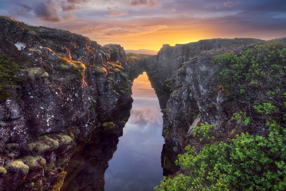 Thingvellir National Park Waterfilled Fissure Iceland
