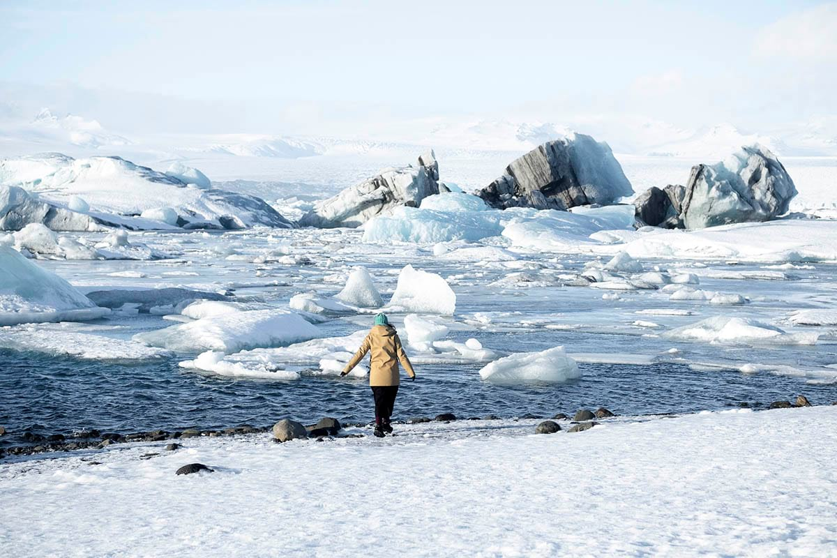 Visiting Jokulsarlon Glacier Lagoon on a winter's day, south Iceland