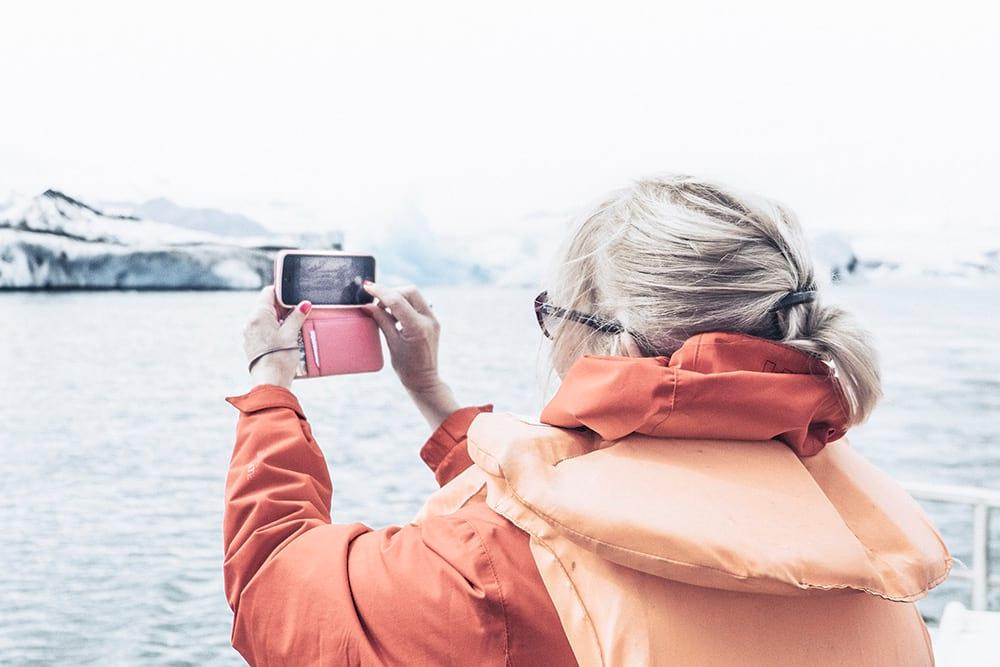 Visiting Jokulsarlon on a boat ride summer Iceland