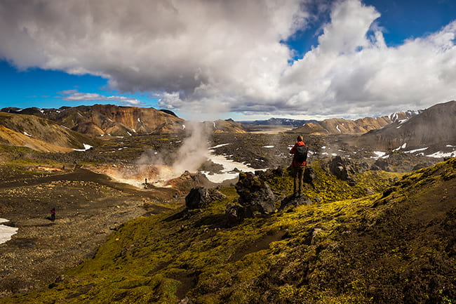 hike icelandic mountains in the summer